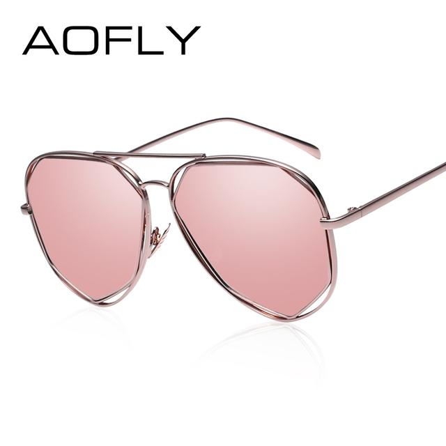 New Metal Frame Sunglasses Geometry Double-Bridge UV400