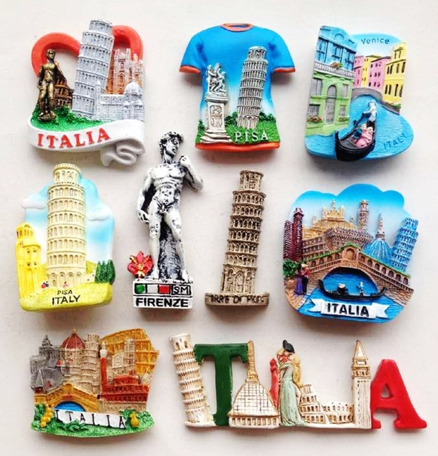 Alta calidad hecho a mano Italia torre inclinada de Pisa imanes de nevera 3D viaje mundial recuerdos refrigerador pegatinas magnéticas