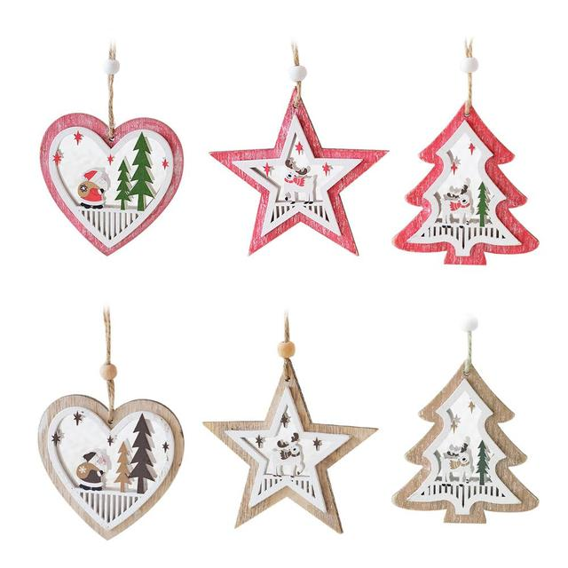 2018 Wooden Christmas Tree Heart Five Pointed Star Shaped Cutout Pendant Ornament Door