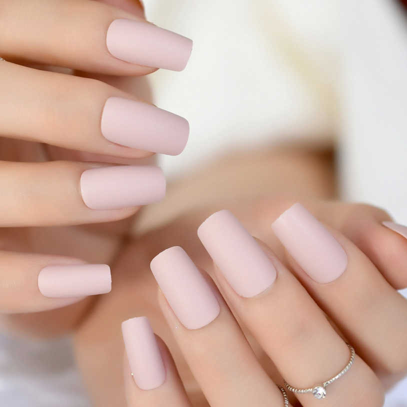 Soft Pink Purple Matte False Nails Light Lilac Color Frosted Women Fake Nail Square Top Finish Designs Finger Nail Art Tips