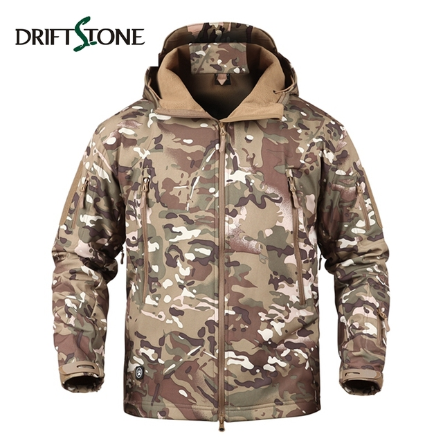 Tactical Jacket Men Camouflage Waterproof Windproof Winter Military Army Softshell Jacket Warm Hoodie Mens Windbreaker Coat DS-6