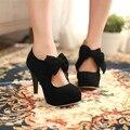 Zapatos de tacones de estilete de cuero de las mujeres 2017 Nuevo de Alta Calidad Clásico Negro Bombea Los Zapatos más el tamaño de Oficina Zapatos de Las Señoras 1009 W