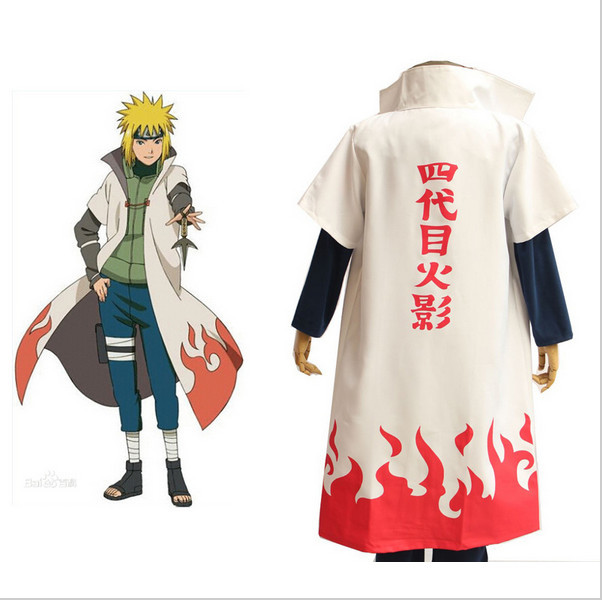 2016 Hot Anime Naruto Cosplay Costumes Fourth Hokage Namikaze Minato Cape Outfit Cosplay Uniform  Cloak