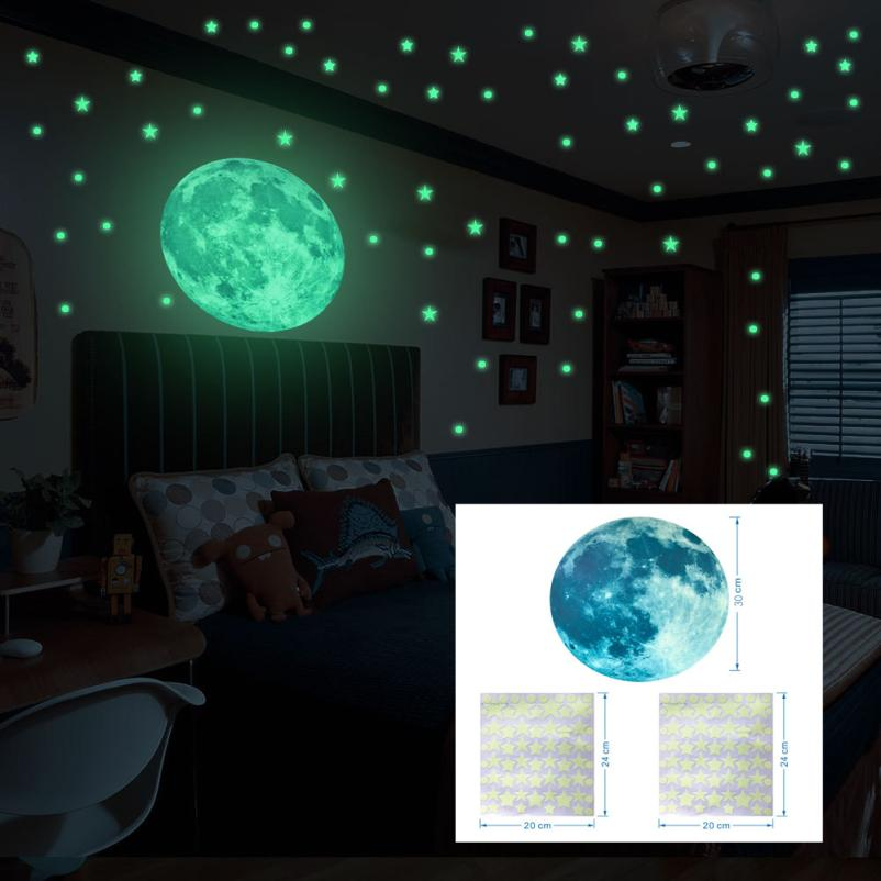Night Luminous Stickers Glow In Dark Wall Ceiling Suns Stars Stickers Wall Stickers Night Kid Home Decor For Kids Rooms t111