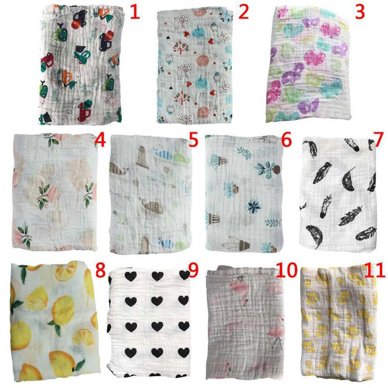 Newborn Cotton Blankets Baby Muslin  Blanket & Swaddling Soft Baby Bath Towel Cartoon Blankets MultiFunctions Baby Wrap