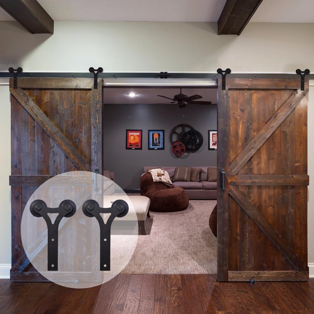 LWZH Black Sliding Interior Barn Door Hardware Sets Closet Wood Door Kits Y-Shaped Track Rollers For Double Door 14FT/15FT