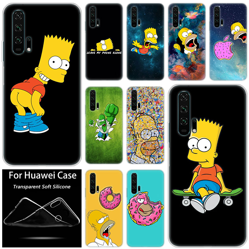 Hot The Simpsons Fashion Soft Silicone Case for Huawei <font><b>Honor</b></font> 20 8A 7A Pro 10 <font><b>9</b></font> 8 <font><b>Lite</b></font> View 20 7S 8S 8X 7X 6X 8C 20i 10i Play TPU image