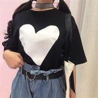 New Short Sleeve O Neck Big Heart Printed Funny T Shirt Korean Fashions Harajuku Ulzzang Graphic Tees Cotton Women Loose T Shirt