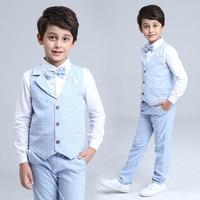 2017 Boys Blazer Suit Kids Cotton Vest+Tie+Blouse+Pants 4 pieces/set Clothes Sets Boys Formal Blazers for Weddings Party EB156