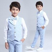 2019 Boys Blazer Suit Kids Cotton Vest+Tie+Blouse+Pants 4 pieces/set Clothes Sets Boys Formal Blazers for Weddings Party EB156