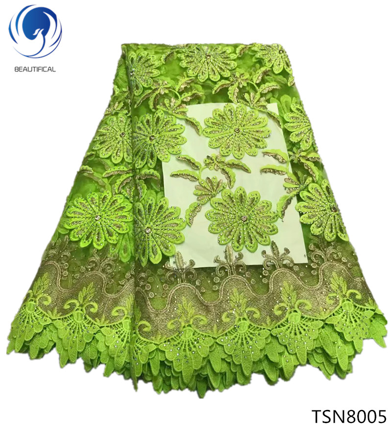 BEAUTIFICAL latest lace fabric 2018 heavy rhinestone lace fabric with swiss guipure lace fabric 5yards/lot green design TSN80