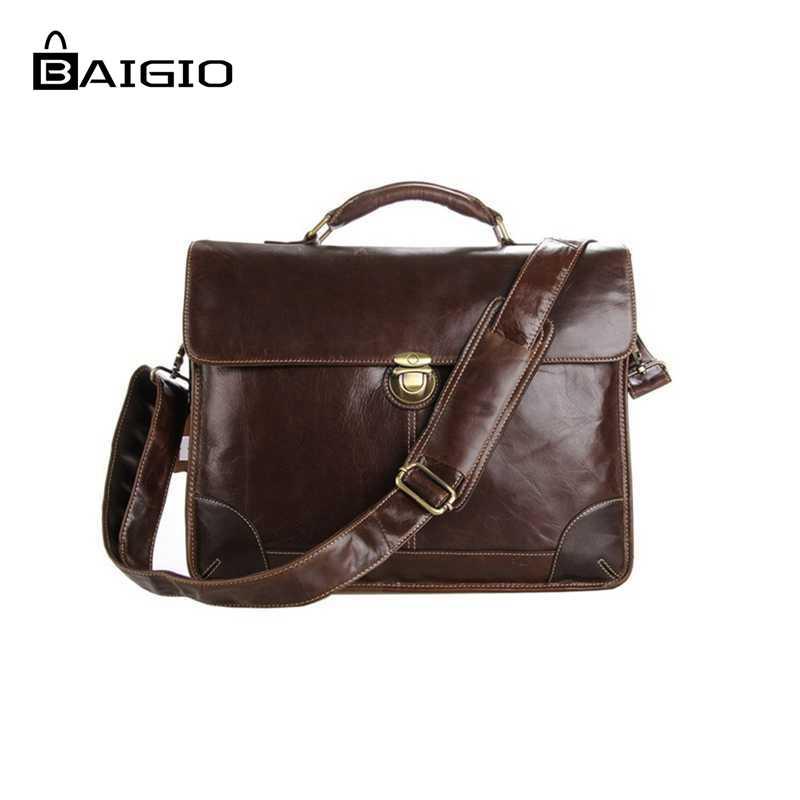 f74e29b0d6 Best buy Baigio Men Leather Briefcase 14 inch Laptop Cases Bag Vinatge  Brown Designer Messenger Bags Shoulder Totes online cheap