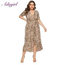 Women Plus Size 6XL Sexy Leopard Print Party Wrap Long Dress Summer Elegant Short Sleeve V Neck Ruffled Dresses Casual Vestidos