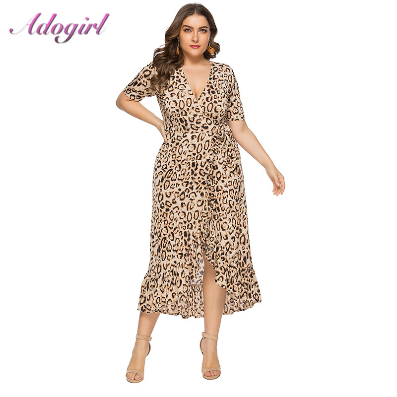 Women <font><b>Plus</b></font> <font><b>Size</b></font> <font><b>6XL</b></font> <font><b>Sexy</b></font> Leopard Print Party Wrap Long <font><b>Dress</b></font> Summer Elegant Short Sleeve V Neck Ruffled <font><b>Dresses</b></font> Casual Vestidos image