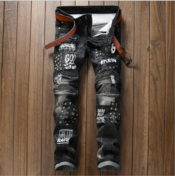 New Mens Jean Design Balm* Biker Jeans Slim Stretch Straight Denim Pants Jeans Ripped Elastic Skinny Motorcycle Men Jeans 550-4
