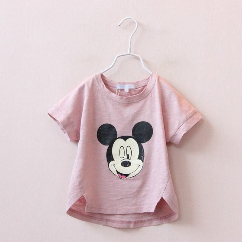 3-7 yrs Brand Summer Kids Tshirt 100% Cotton MIckey print Short Sleeves girls baby T shirts Toddler Kids Children t Shirt Blouse
