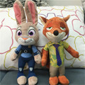 Zootopia Plush Nick Wilde Fox Judy Hopps Rabbit Soft Stuffed Anime Doll Movie Animals Cartoon Toys for Children Gift 25cm