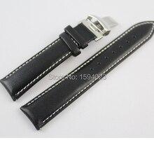 19 мм(пряжка 18 мм) PRC200 T067417 высокое качество Серебряная Бабочка Пряжка+ черный натуральная кожа ремешок для часов