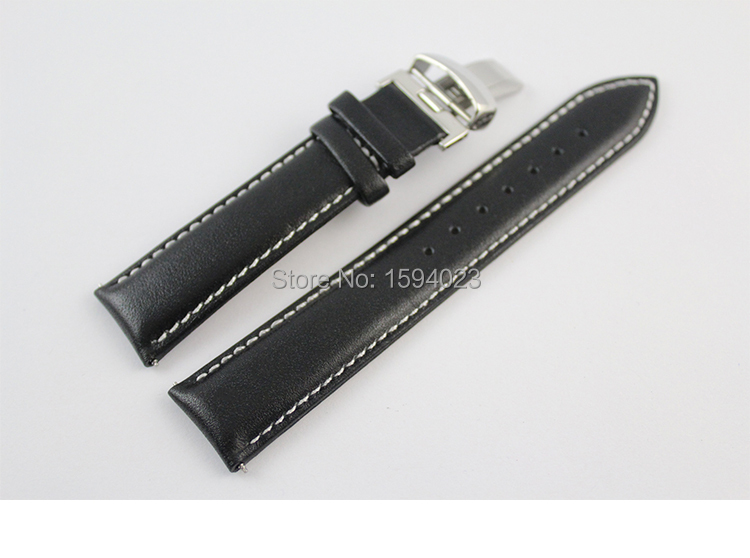 <font><b>19mm</b></font> (Buckle18mm) <font><b>PRC200</b></font> T067417 High Quality Silver Butterfly Buckle + Black Genuine Leather Watch Bands Strap man image