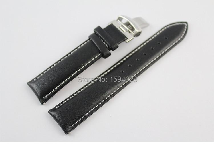19 mm (gesp 18 mm) PRC200 T067417 hoge kwaliteit zilveren vlindergesp + zwarte lederen horlogebandjes man