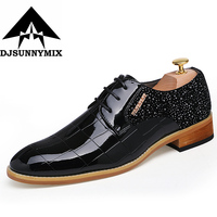 DJSUNNYMIX Brand 2017 High Quality Rhinestone New Leather Men Dress Shoes Evening Party Wedding Shoes Black
