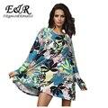 Manga larga del o-cuello suéter de cachemira más el vestido del tamaño de la flor perforación Printprint Vestidos 2014 nueva moda de invierno 1118S01