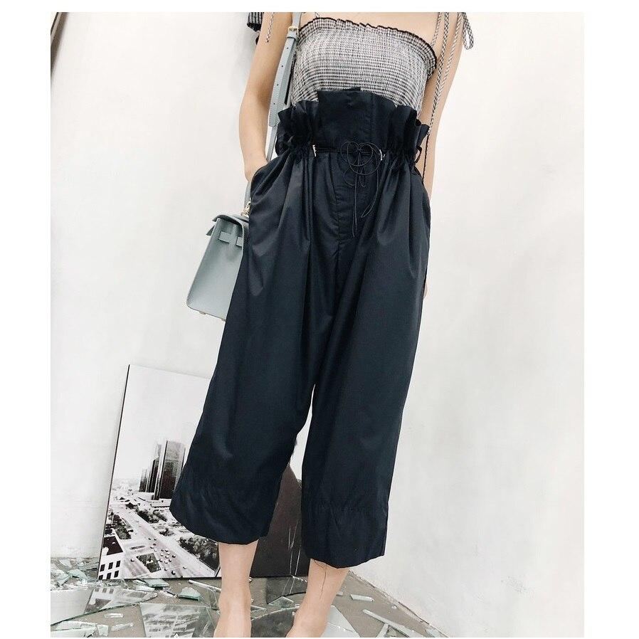 Fashion High Waist   Pants   Woman   Wide     Leg     Pant   Casual Lace-up Harem   pant   ankle-length Trousers Women Korean clothes pantalon femme