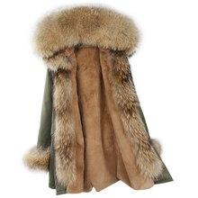 Новая парка, пальто из натурального меха, зимняя куртка для женщин, воротник из натурального меха енота, теплая Толстая меховая парка на меху, съемная