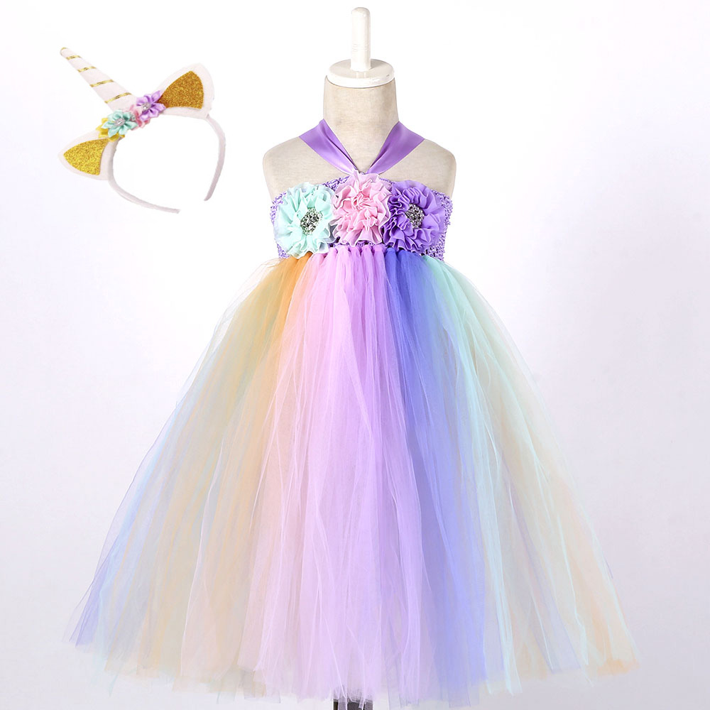 Pastel Unicorn Clothes Girl Summer Long Ankle Length Sleeveless May Little Pony Costume Dress for Girls Party Dresses Age 10 12 (1)