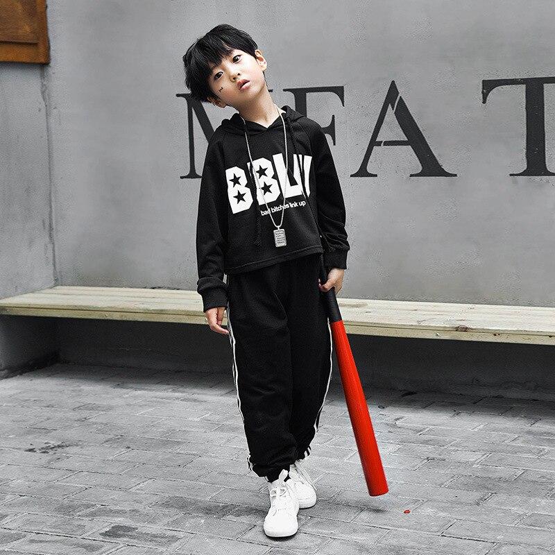 Black Hip Hop Costume for Boys Girls Stage Competition Ballroom Show Fashion Long Sleeve Modern Dancewear Jazz Dance Sets
