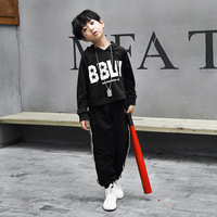 Black Hip Hop Costume for Boys Girls Stage Competition Ballroom Show Fashion Long Sleeve Modern Dancewear Jazz Dance Sets