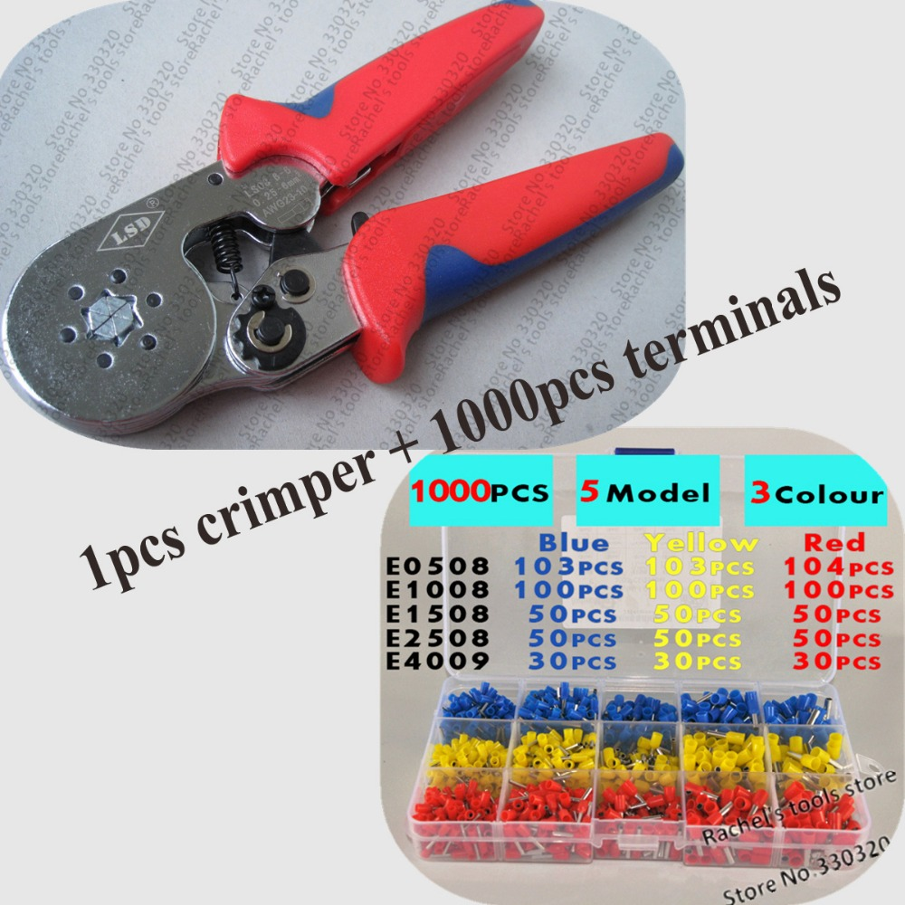 Beautiful Crimping Tool Sets With 1pcs Wire End Sleeves Hand Terminal Crimping Pliers And 1000pcs Cable Ferrules Choice Materials