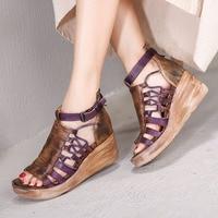 VALLU 2019 Wedges Sandals Shoes Woman Open Toes Mixed Color Ankle Strap Vintage Handmade Genuine Leather Platform Sandals