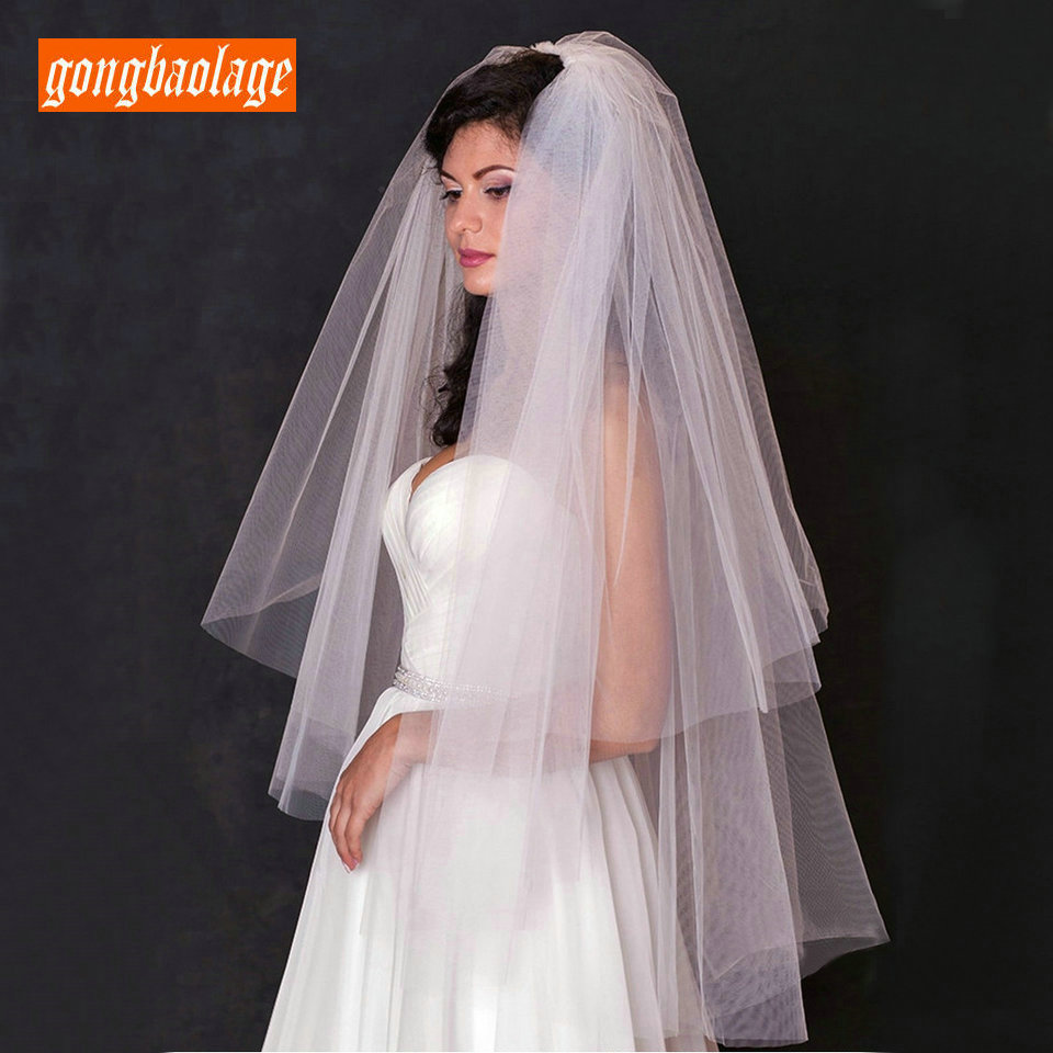 Real Picture 0.75 Meters Two Layers Ivory Short Bride Veil With Comb 2019 Tulle Elegant White Bridal Veils Wedding Accessories