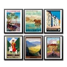Francia Lyon Cheverny Bains Grenoble crucero Vintage póster de viaje