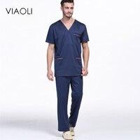 Viaoli Erkekler Tıbbi Giysi Hemşirelik Kliniği Tops/Pantolon Kısa Kollu Cerrahi Scrubs Tops/Pantolon Hastane Üniforma