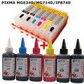 6 INKT Voor CANON pixma MG6340 MG7140 IP8740 printer PGI 450 CLI 451 navulbare inkt cartridge + 6 Kleur Dye inkt 100 ml