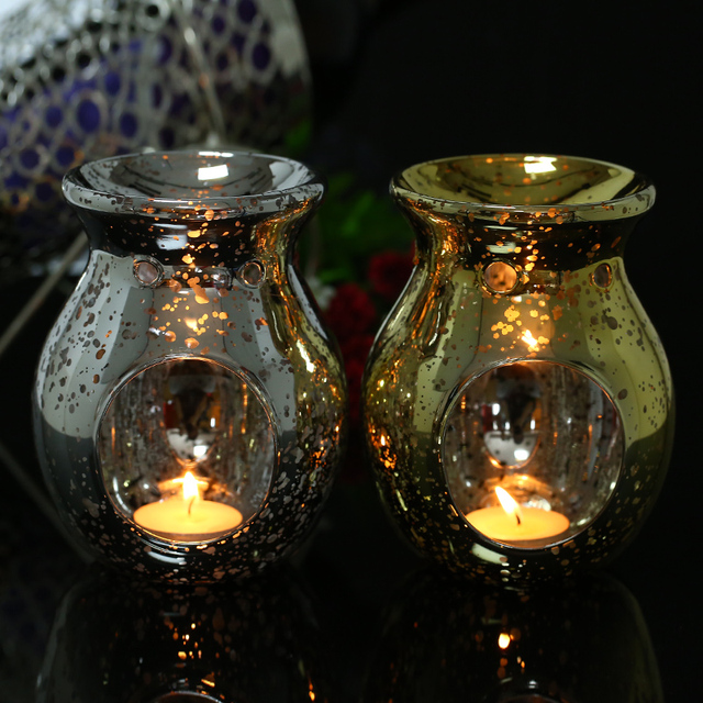 Freeship Mercury Silver/Gold Glass Candle Holder Incense Burner Oil Lamp Cafe Bar Home Spa Table Decorative for Aromatherapy