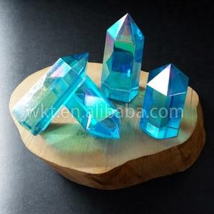 Image 3 - WT G126 Aqua Aura Quartz Crystal Wand, Aqua Aura Wand Point, Aura crystal point, Healing crystal Point, Aqua Blue Aura Quartz