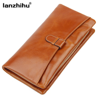 2015 Hot Genuine Leather Clutch Bags Oil Wax Cowhide Women Clutches Day Clutch Small Handbag Wristlet