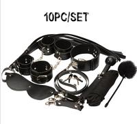 10pcs Set Bondage Restraints Pu Leather Bdsm Collar Handcuffs for Sex Whips Mouth Gag Nipple Clamps Mask Rope Adult Games Black