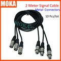 10 Pcs/lot High speed Metal Material 3 Pin XLR Signal Connection dmx signal cables 2m dmx signal connectors