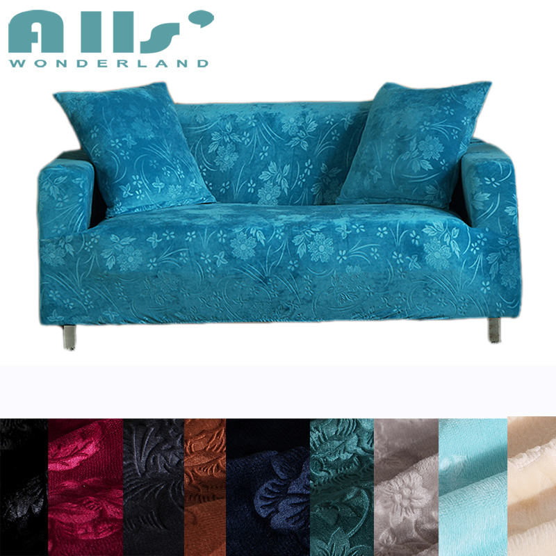 Blue Embossing Couch Sofa Covers 100 Polyester Stretch