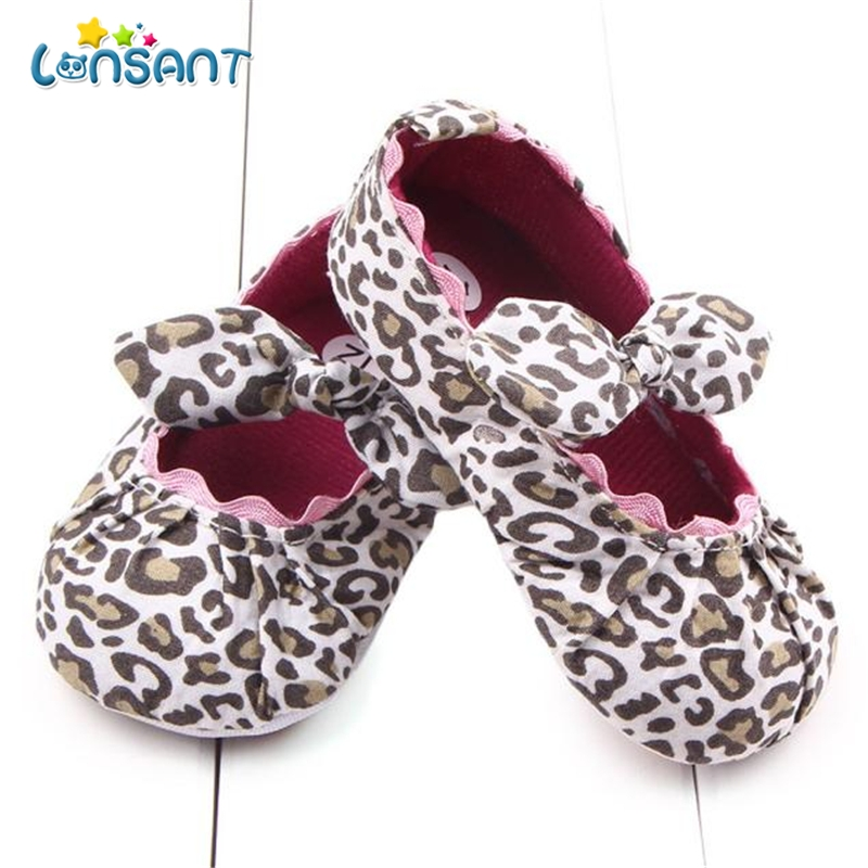LONSANT Toddler Kids Baby Girls Leopard Elastic band Bowknot Newborn Shoes E1115