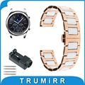 22mm Ceramic Watch Band for Samsung Gear S3 Classic / Frontier Butterfly Buckle Strap Wrist Belt Bracelet Black Rose Gold White