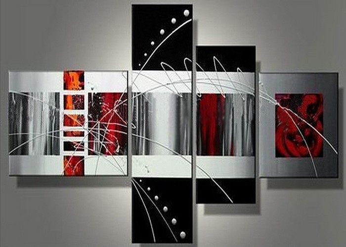 handmade 4 piece black white red contemporary abstract wall art oil ...
