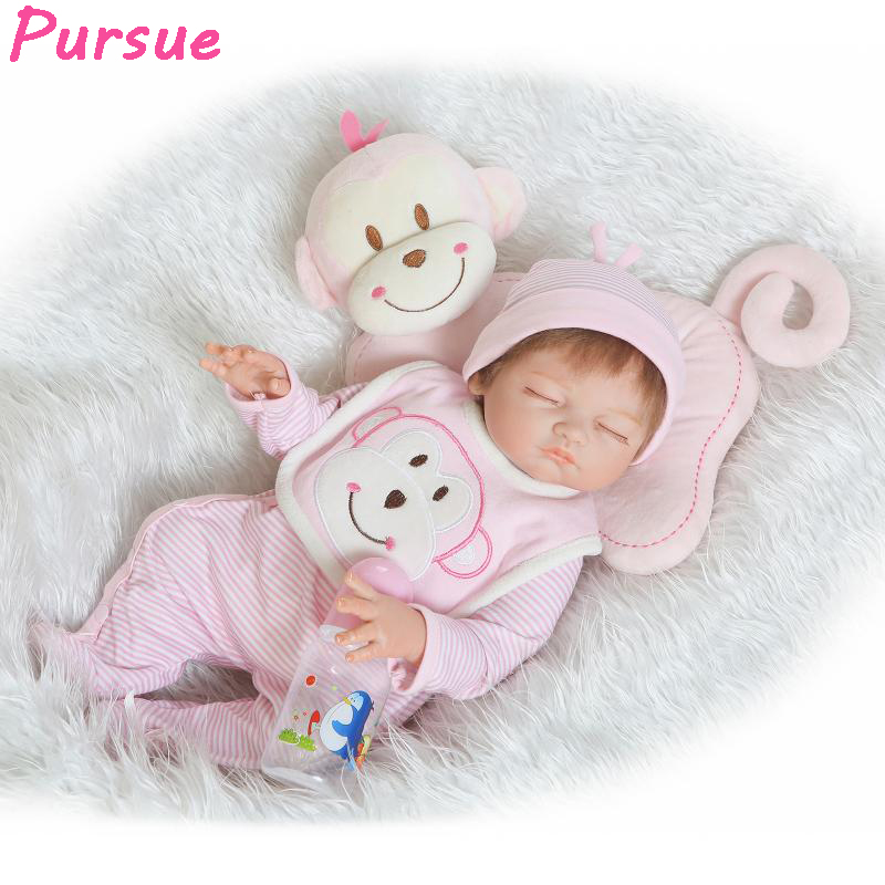 Pursue 52cm Sleeping Soft Vinyl Baby Dolls Reborn Body Silicone Reborn Toddler Dolls Girls bebe reborn com corpo de silicone pursue 57cm newborn lifelike boy reborn baby dolls full body silicone reborn toddler dolls boy bebe reborn com corpo de silicone