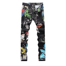 2016 New printed Coloured drawing&pattern Nightclubs Jeans men, casual pants men,plus-size 28-36