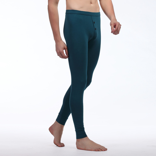 2016 hombres de moda de ropa interior térmica de invierno de algodón para hombres calzoncillos largos Sexy traje con el botón de Thermo Leggings pantalones calientes para el hombre