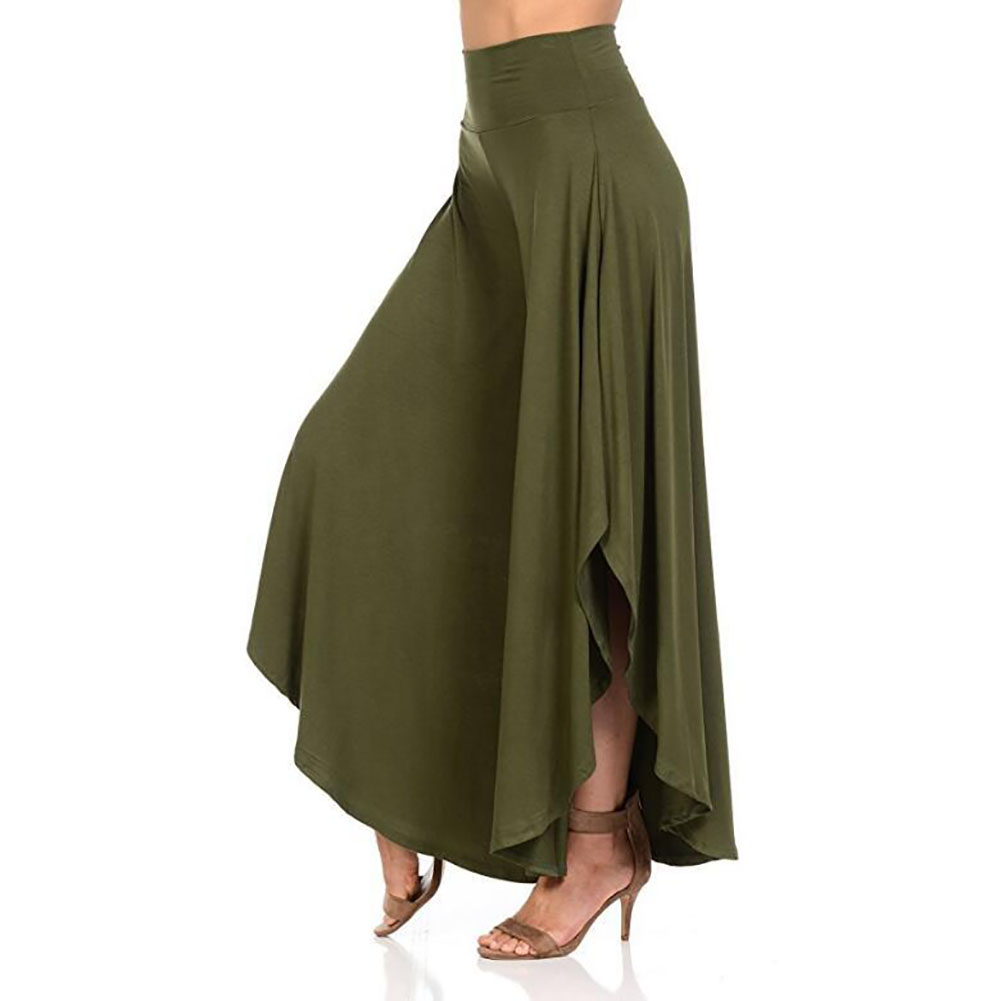 Women Daily Casual Solid Summer Elastic Waist Irregular Flared Loose Soft Fitness Shopping   Wide     Leg     Pants